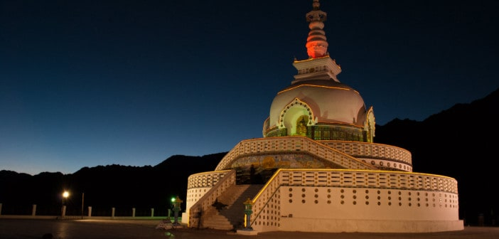 Shanti Stupa in Leh at Night
