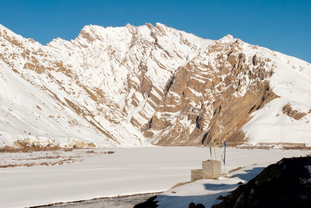 Frozen views of Spiti Valley in winters
