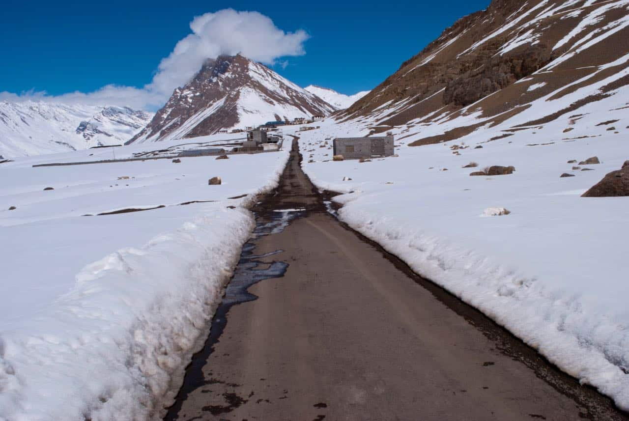 That road through frozen vistas to Key Monastery in winters