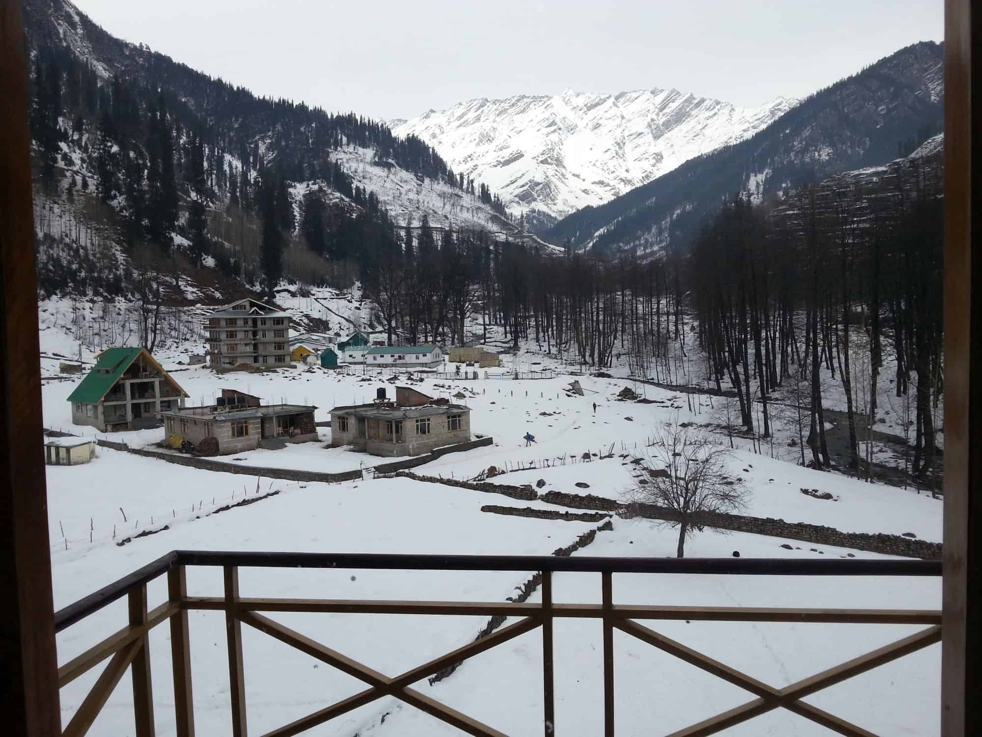 View from hotel room's balcony in Solang Valley