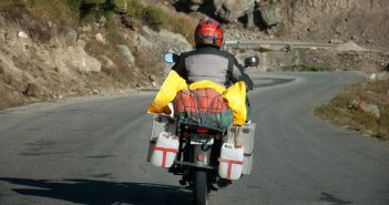 Bike Carrying Spare Fuel on Manali Leh Highway