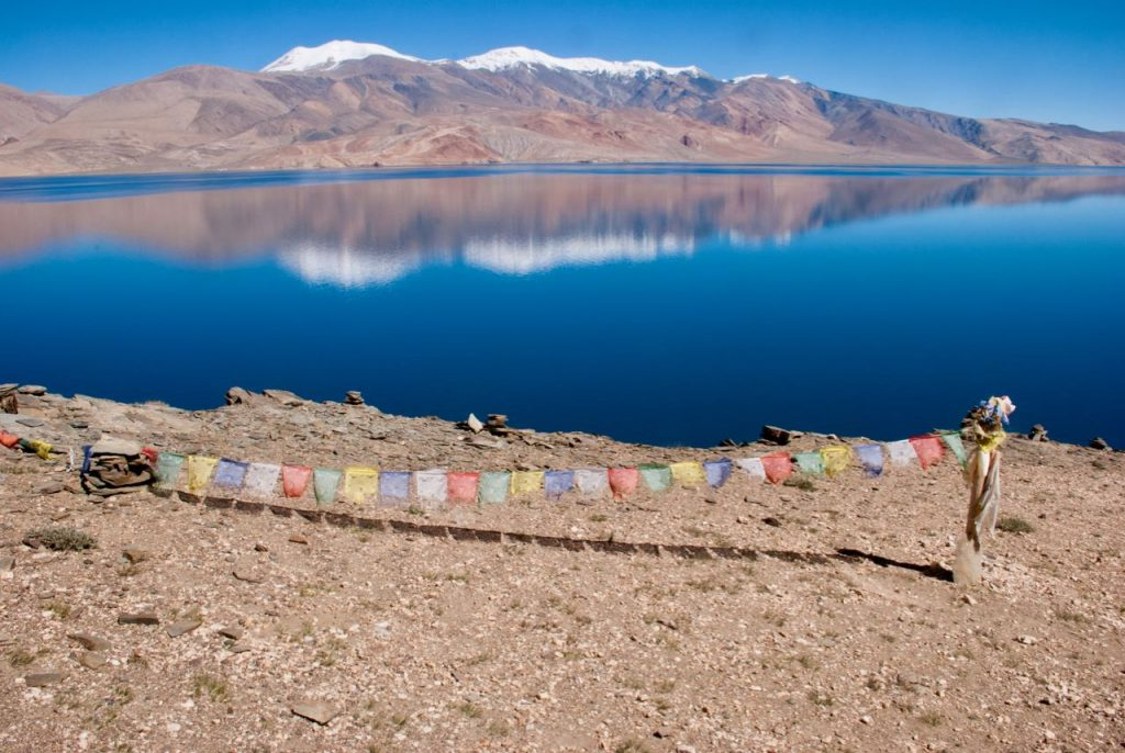 Prayer flags at Tso Moriri Lake