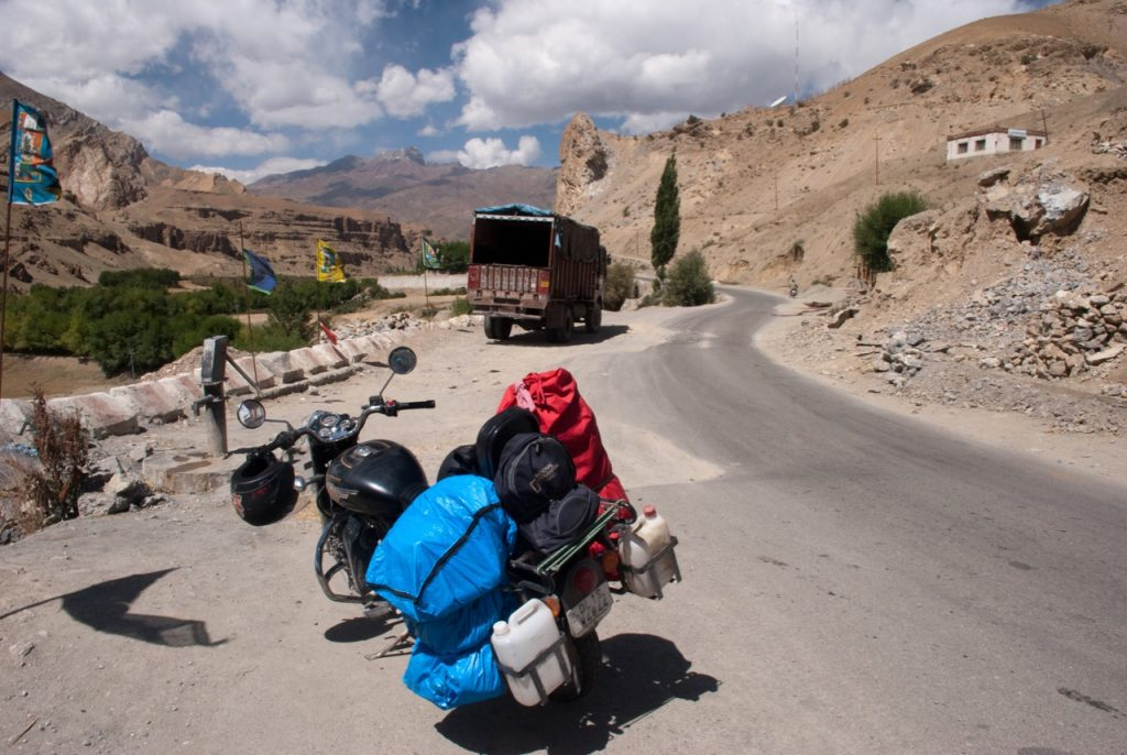 Bike Carrying Fuel on Ladakh Trip