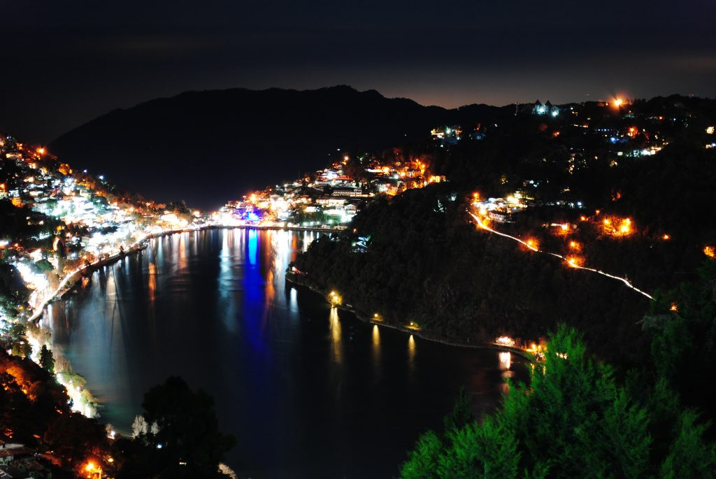 A glittering night view of Nainital Lake as seen from Mallital