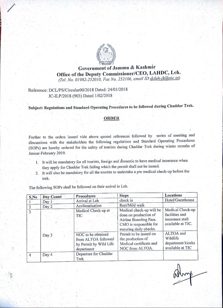Leh DC Order - Rules & Procedure to be followed for Chadar Trek