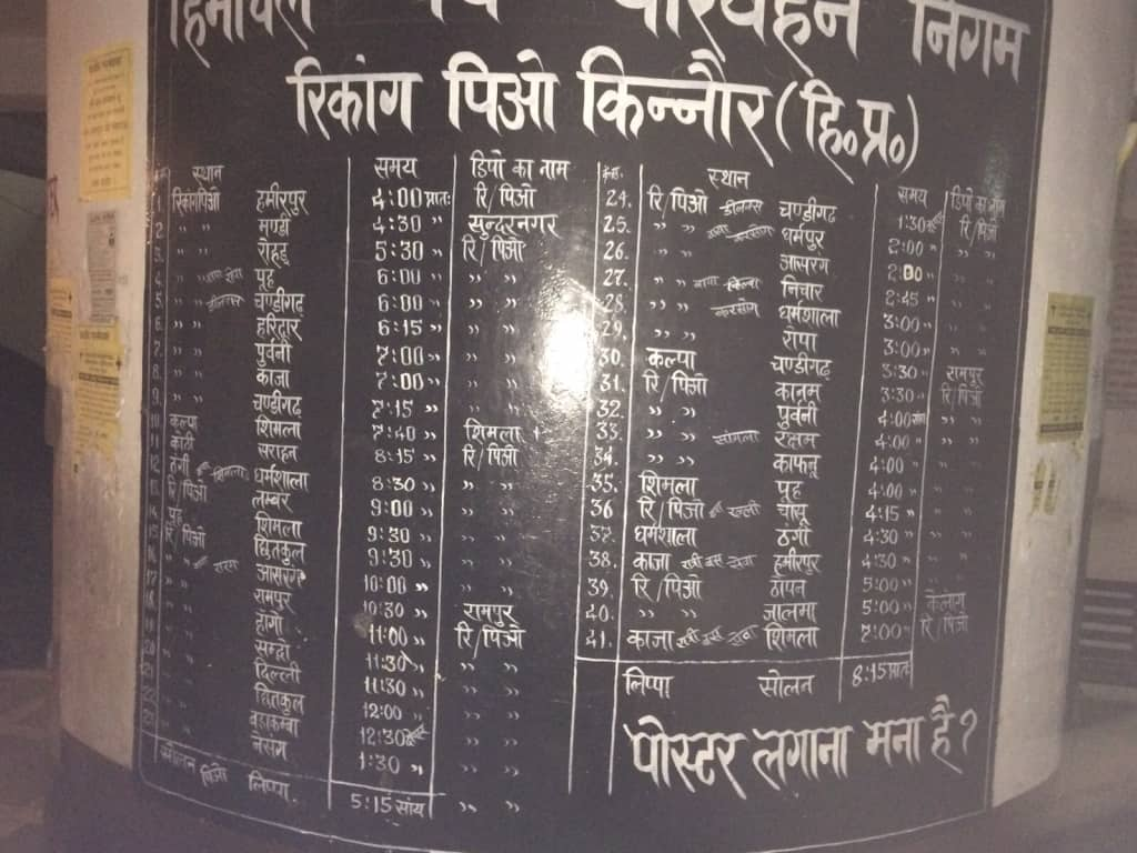 Kinnaur HRTC Bus Time Table and Fare