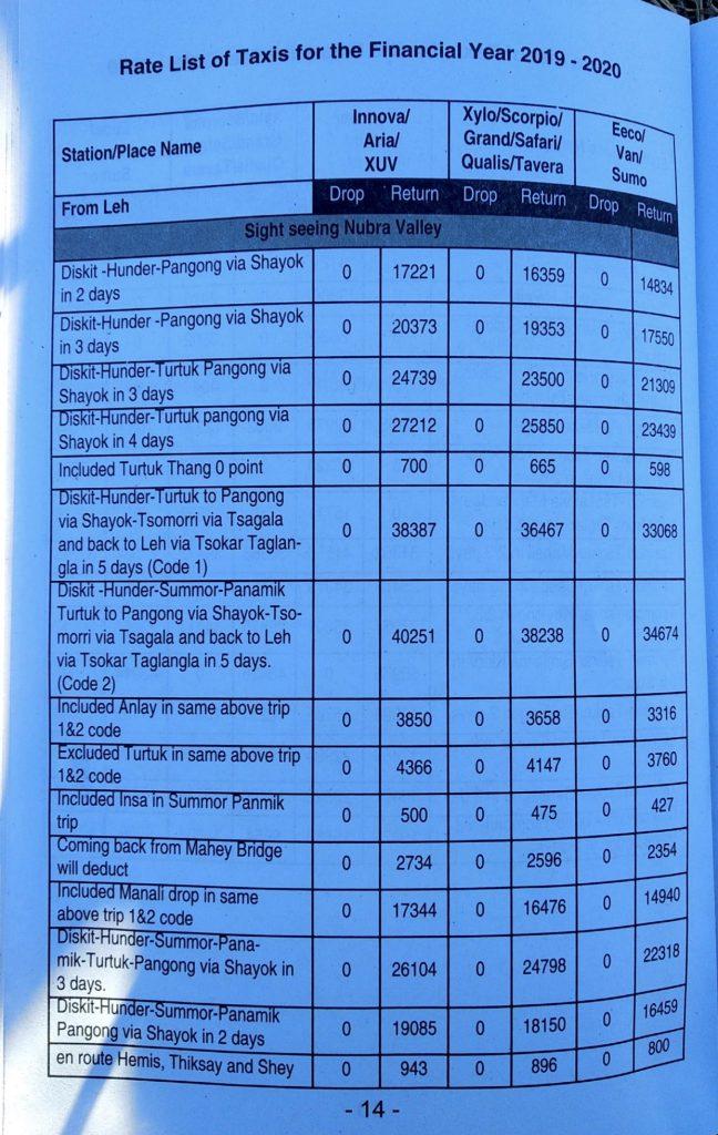 Leh Ladakh Taxi Rates 2019-20 | Nubra Sightseeing