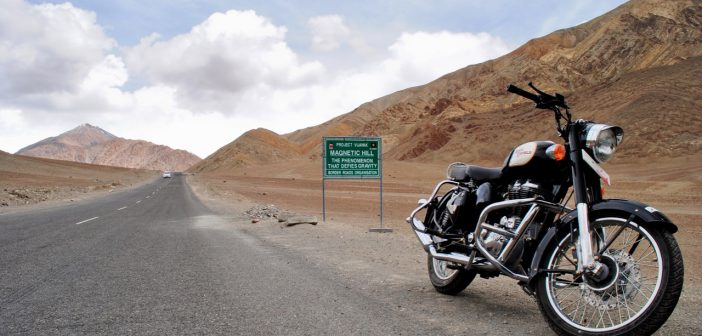 The ride parked at Magnetic Hill in Ladakh