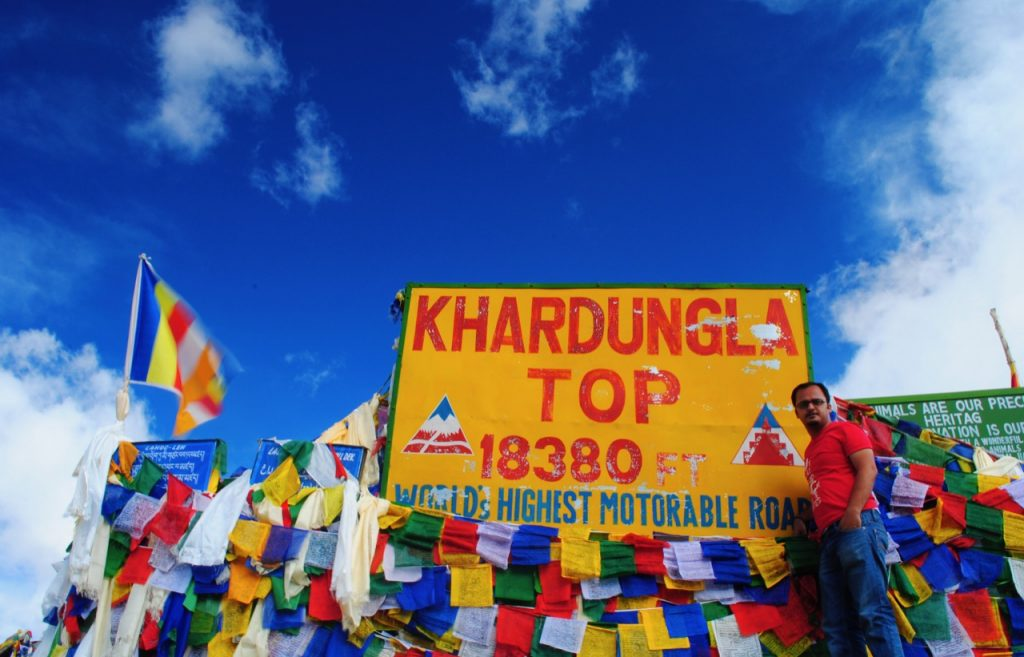 On top of Khardung La while traveling to Diskit
