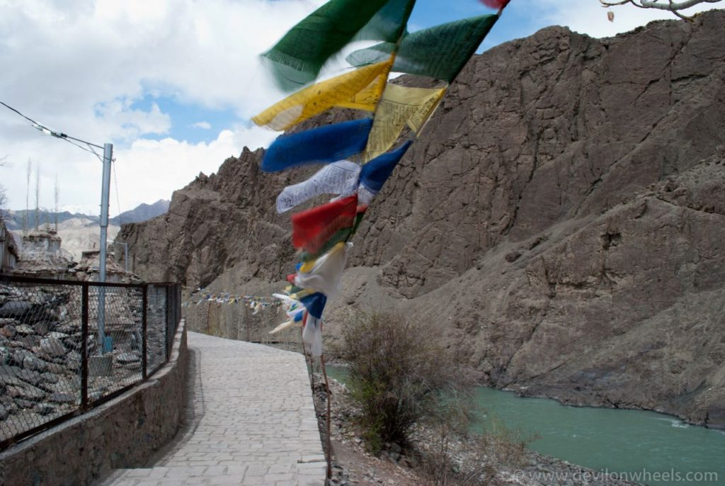 Indus River Flowing Besides Alchi Monastery Complex