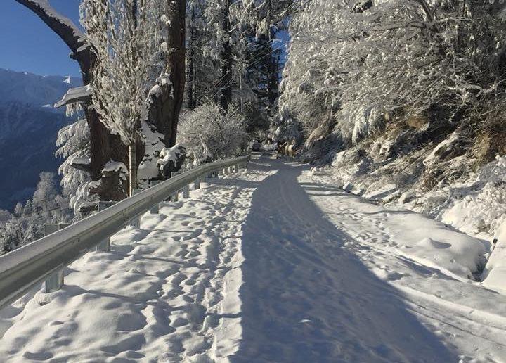 Roads in Kinnaur after fresh Snowfall