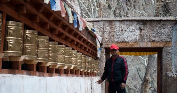 That's me, Spinning Prayer Wheels in monastery