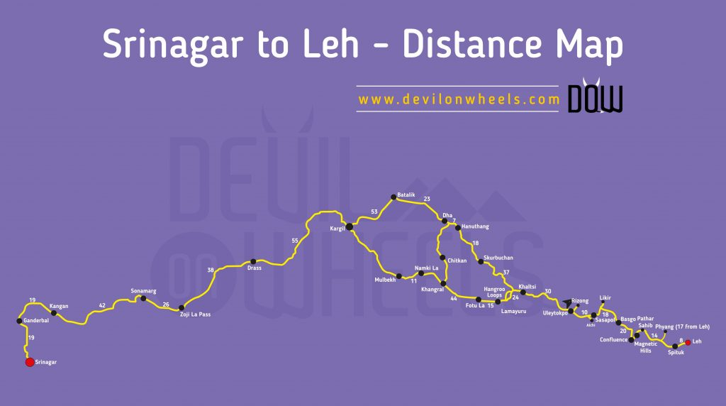 Alchi, about 66 KM from Leh in Sham Valley on Srinagar Leh Road Distance Map