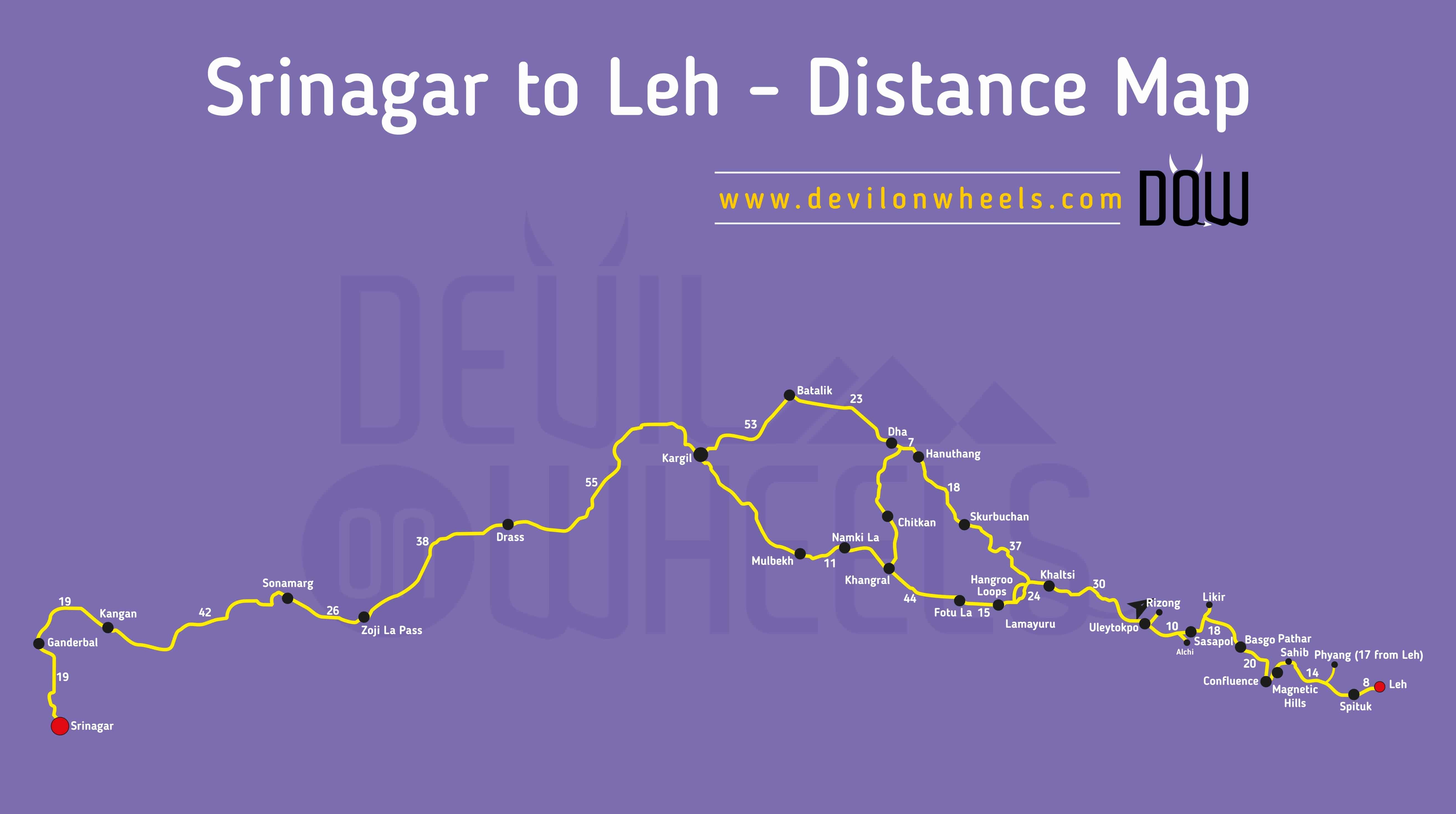 Srinagar To Leh Road Map With Distances For Tourists