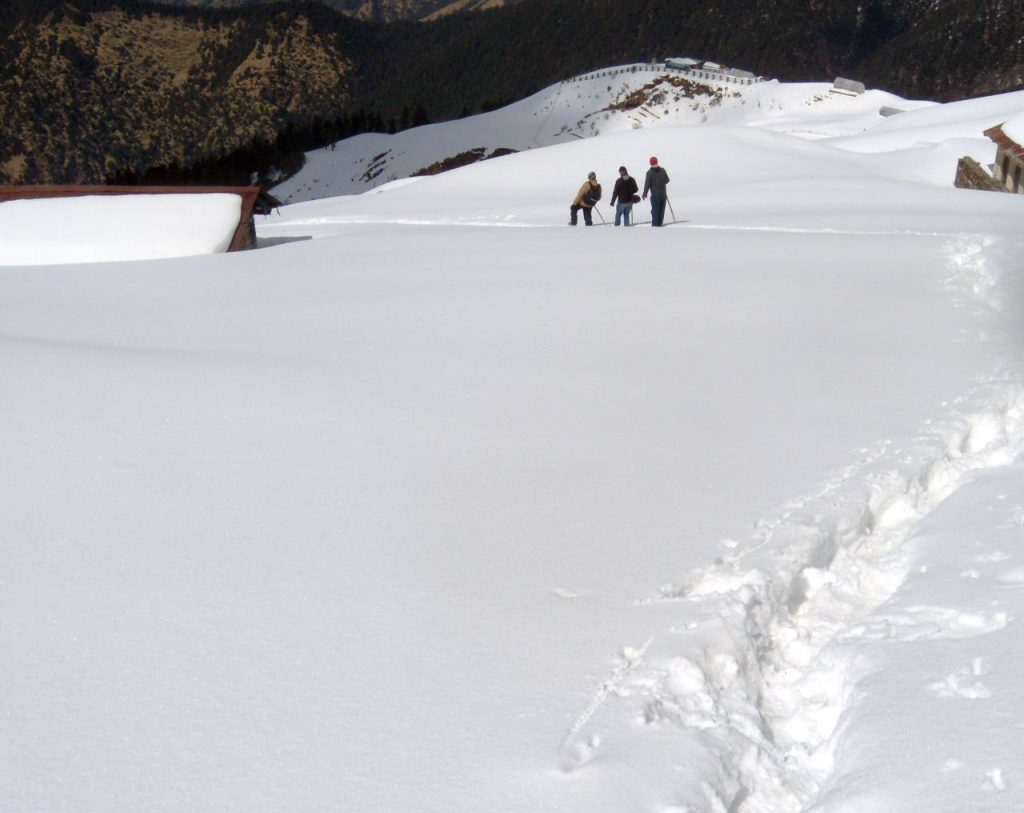 Snow trekking in the Himalayas
