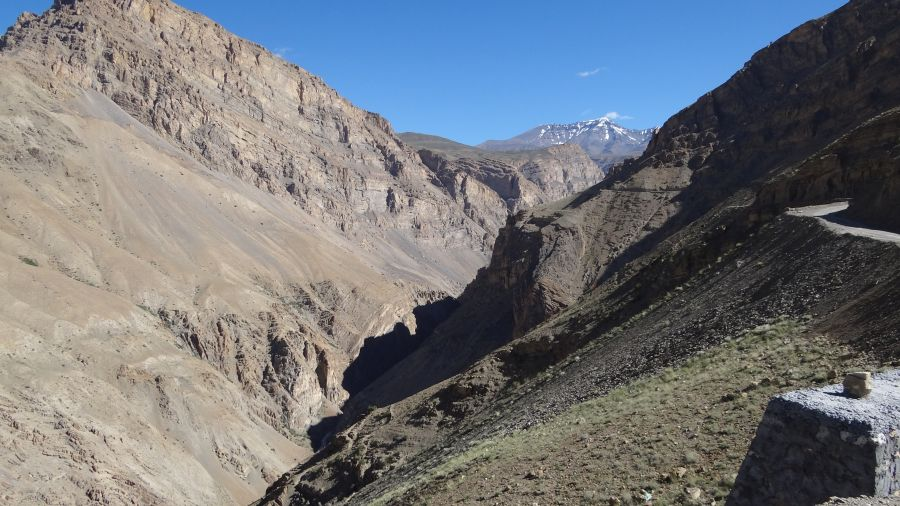 Barren mountains and deep valleys accompany you throughout Spiti valley