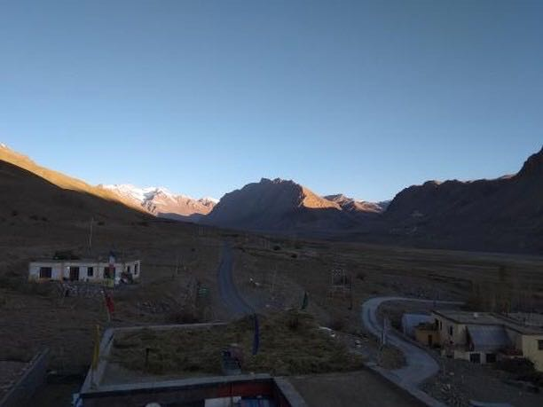View of Key Monastery from Miklam Homestay Kaza