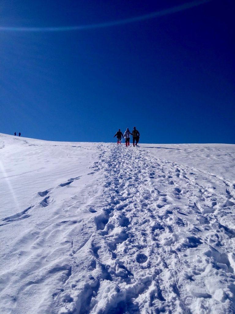 Sliding on the Descend from the Trek to Kedarkantha