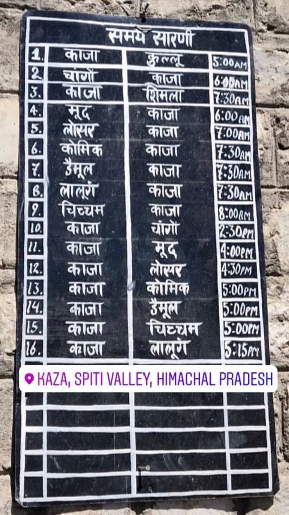 Public Transport in Spiti Valley Bus Timetable