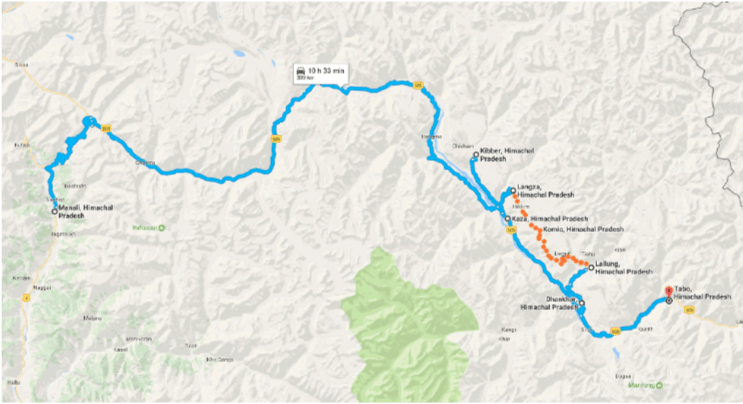 Route Map for this Shared Group Homestay Trek Tour of Spiti Valley