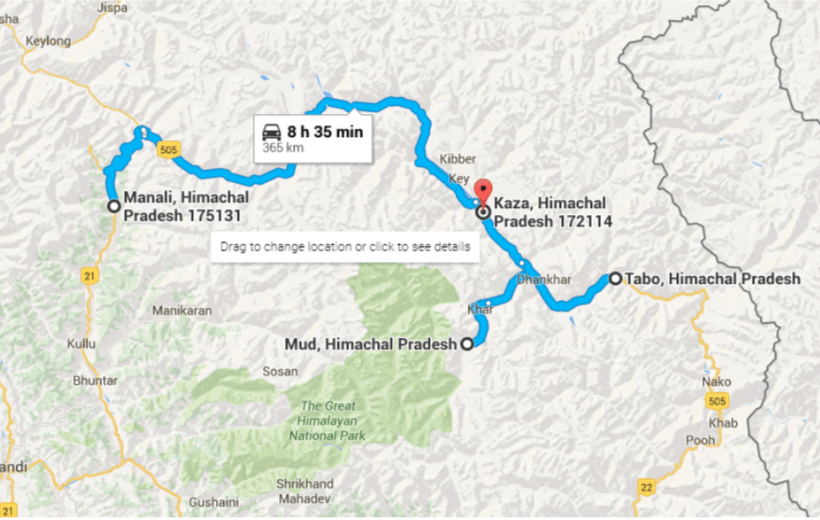 Route Map for this Shared Group Tour of Spiti Valley