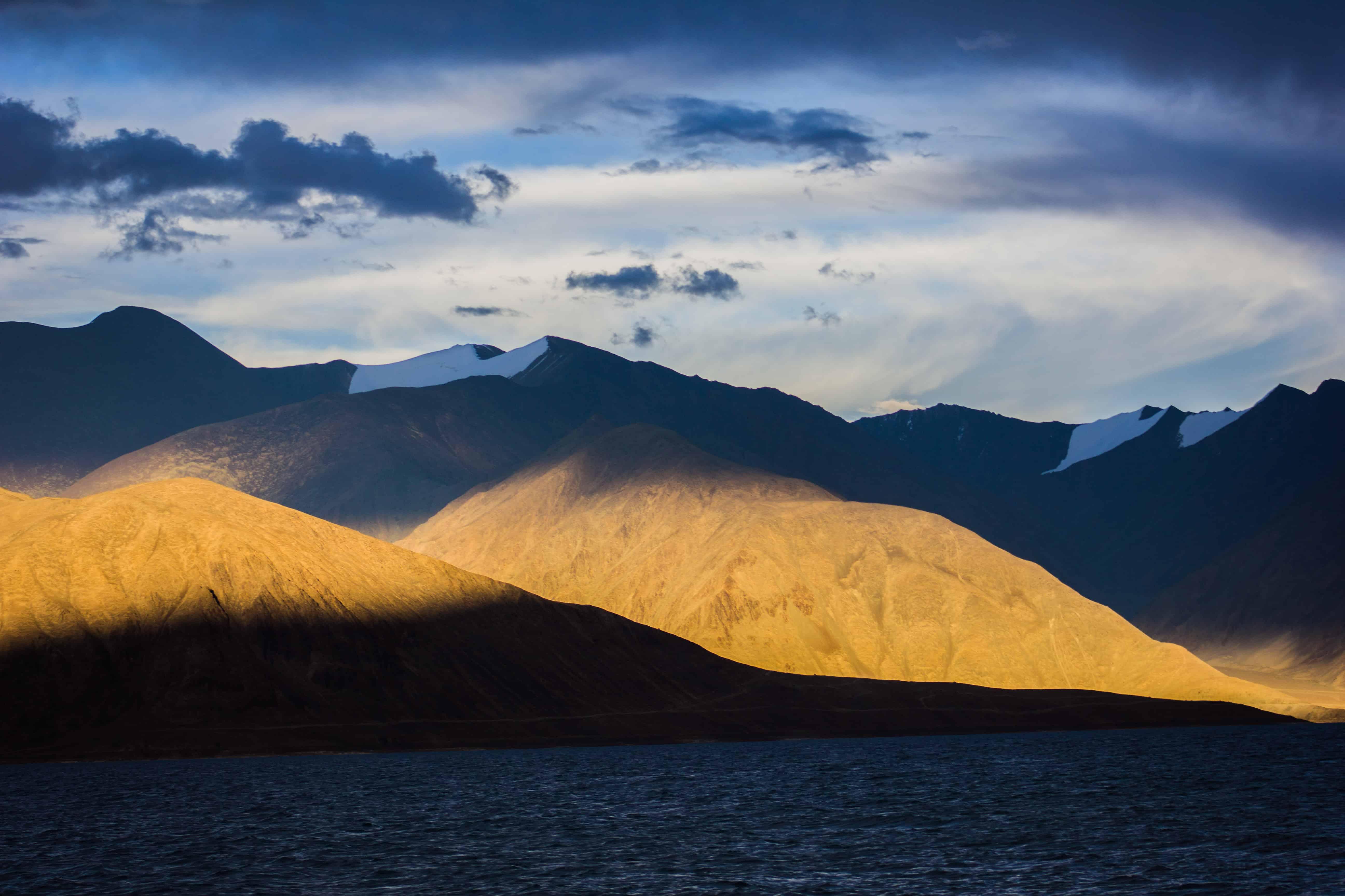 Sun Playing Hide and Seek at Pangong Tso - Ladakh