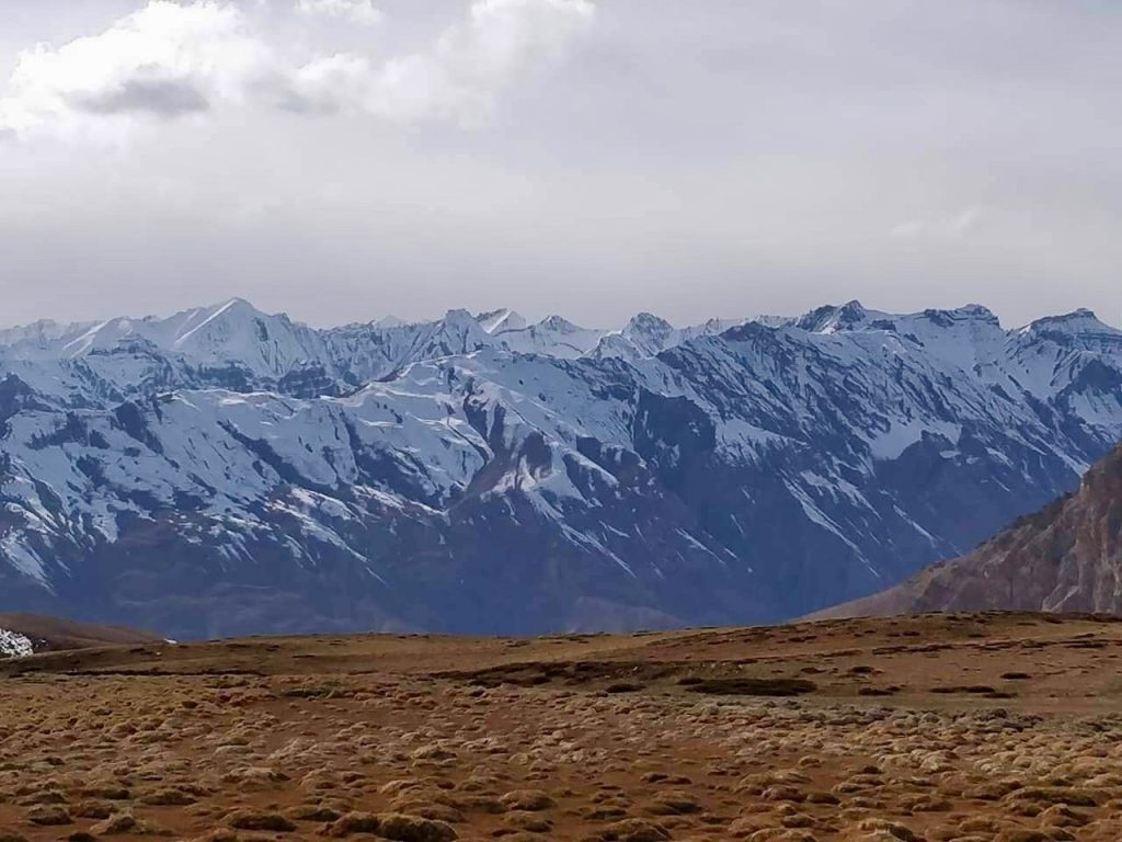 Snow peaks as seen from Hikkim Village