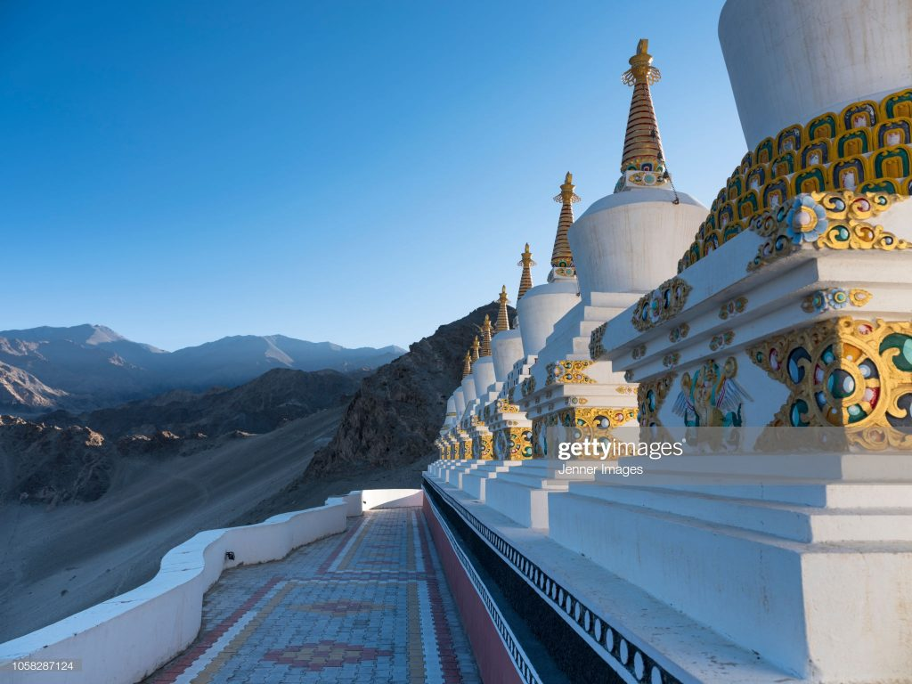 Thiksey Monastery is located on top of a hill in Thiksey village, outside of Leh in Ladakh, India.
