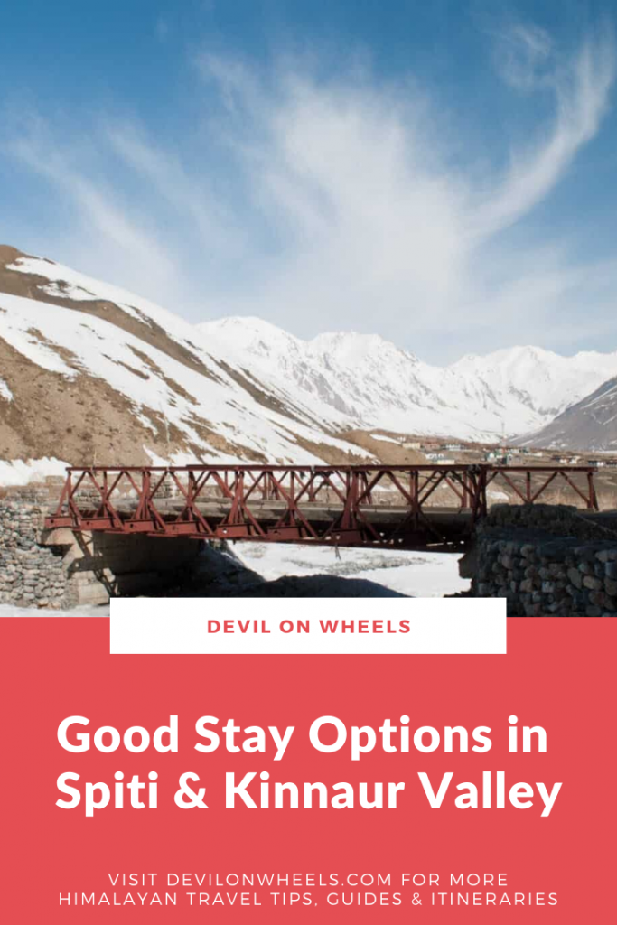Stay Options in Spiti Valley and Kinnaur Valley