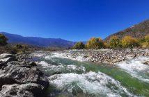 Paro Chu River in Western Bhutan