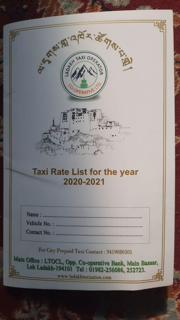 Ladakh Taxi Rates - Cover Page