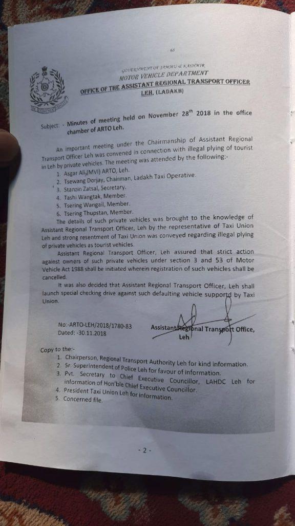 Ladakh Taxi Rates Circular Page 2