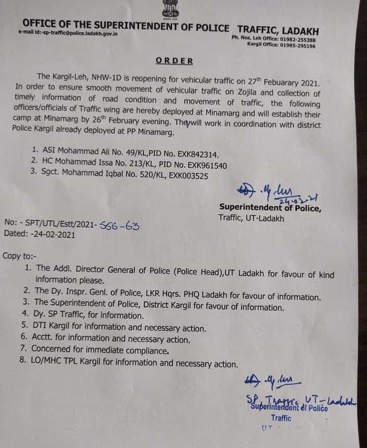 Srinagar - Leh Highway Status Update 2021- February