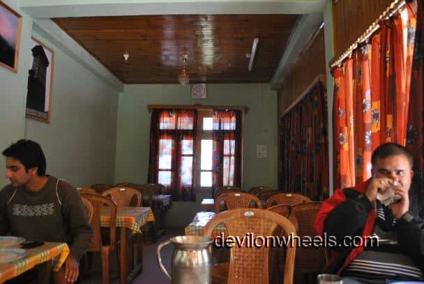 Dining hall at Raja Guest House, Shoja