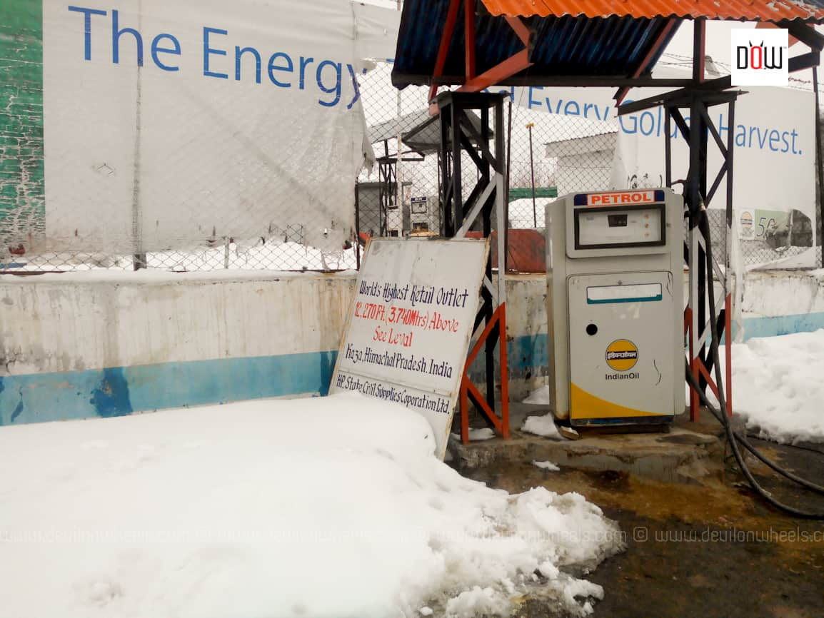 Indian Oil Petrol Pump at Kaza, Spiti Valley - Highest in the world as claimed