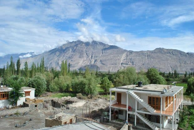 Views from Hotel Sten Del, Sangam Bar and Restaurant at Diskit town, Nubra Valley, Ladakh