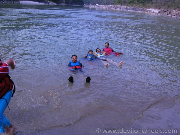 Enjoying the Dip in Ganges with Friends