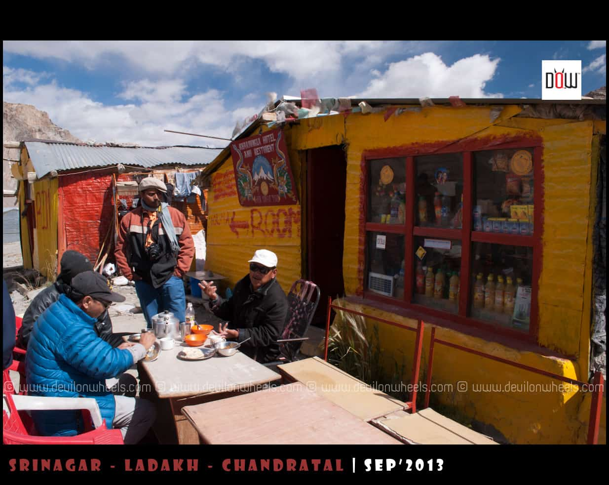 Eating at Local Dhabha on Manali - Leh Highway