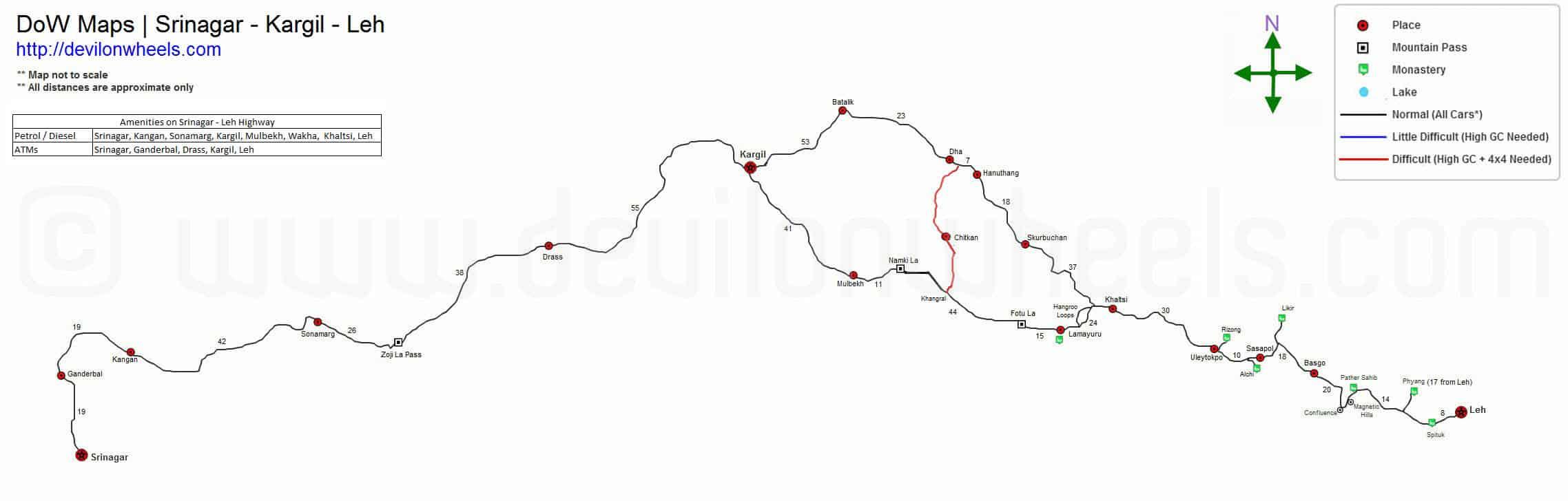 DoW – Maps of Ladakh   Srinagar - Kargil - Leh