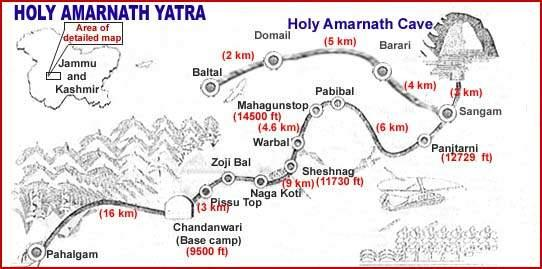 Route map for Amarnath Yatra