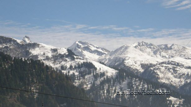 View of snow cap peaks from Manali