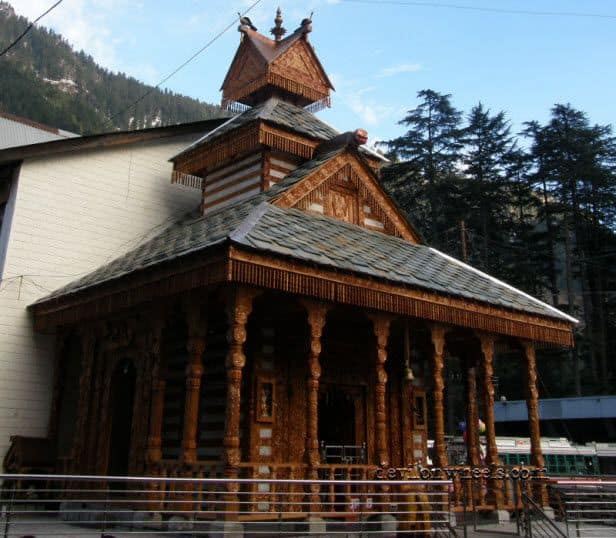 View of temple at mall road of Manali