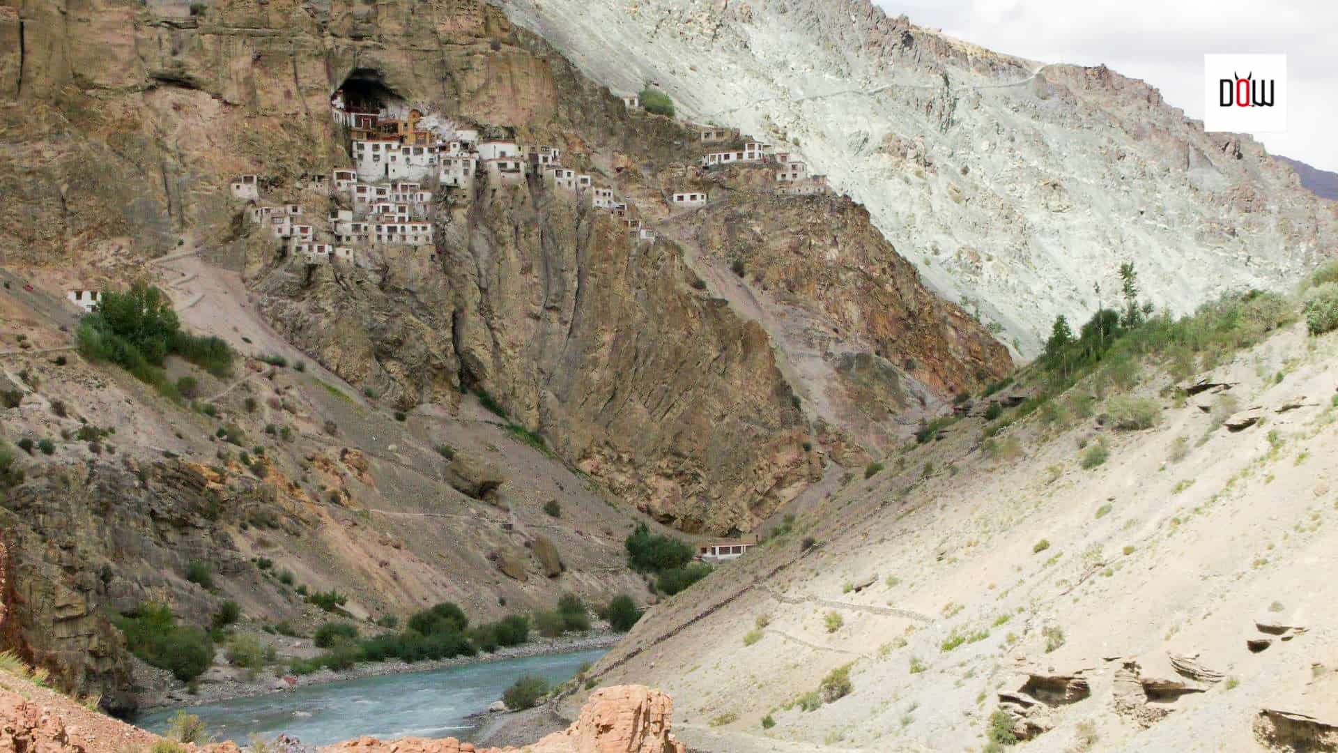 Phugtal Gompa - As seen from the opposite side of Lungnak River