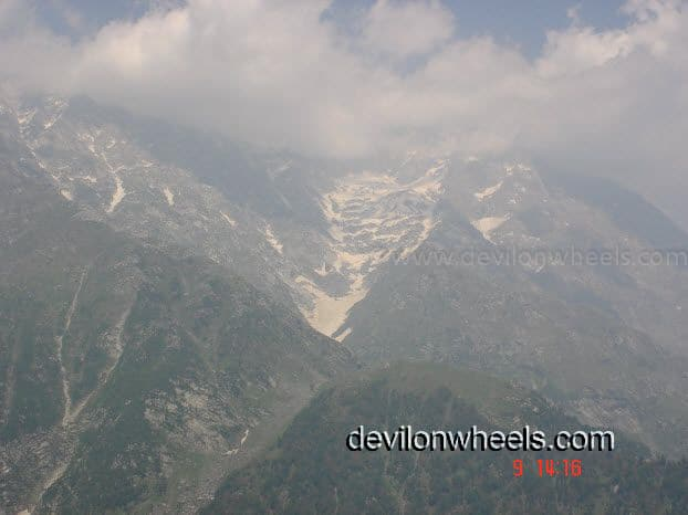 First view of snow as Laka Glacier ahead of Triund