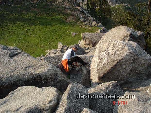 Difficult part of the Trek to Laka Glacier from Triund