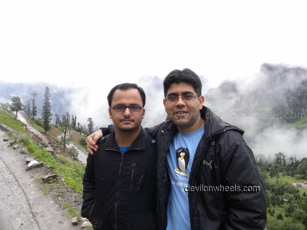Dheeraj Sharma and friend Neeraj on the way towards Rohtang Pass from Manali