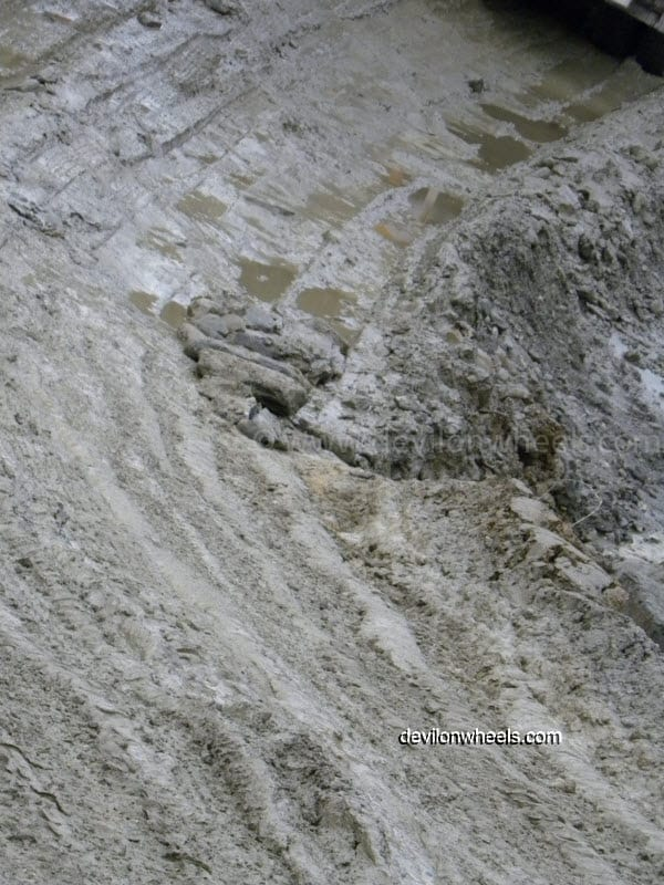 Deep slush on the way towards Rohtang Pass from Manali after rain