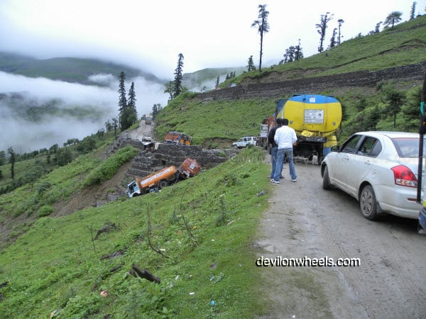 Oil Tankers fell in the Gorge on the way towards Rohtang Pass from Manali after rain