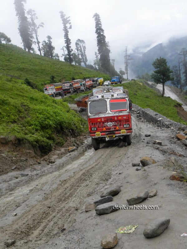 Oil Tankers stuck in mud on the way towards Rohtang Pass from Manali