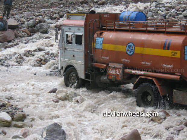 Truck crossing violent Nullah at Zingzing bar on Manali - Leh National Highway